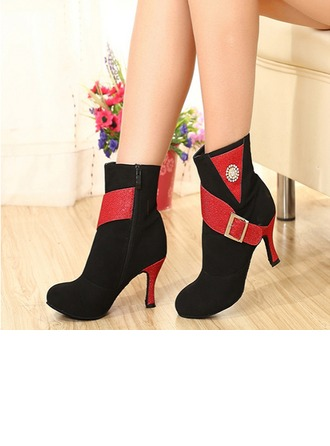Women's Suede Heels Boots Latin Jazz Practice Party Tango With Ankle Strap Dance Shoes