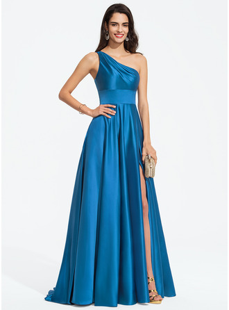 One-Shoulder Sweep Train Satin Prom Dresses With Split Front