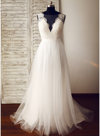 a lineprincess v neck sweep train tulle wedding dress