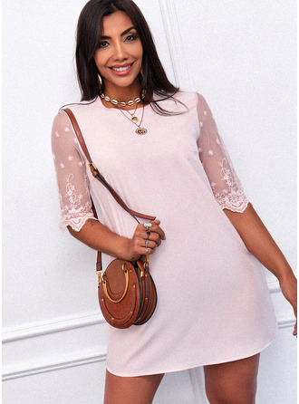 Lace Solid Shift Round Neck 1/2 Sleeves Midi Casual Tunic Dresses