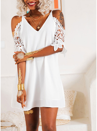 V-Neck 3/4 Sleeves Cold Shoulder Sleeve Midi Dresses