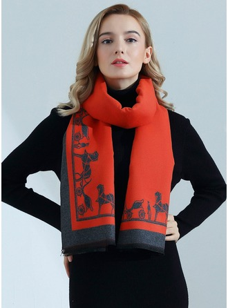 Geometric Print Oversized/fashion Artificial Wool Scarf