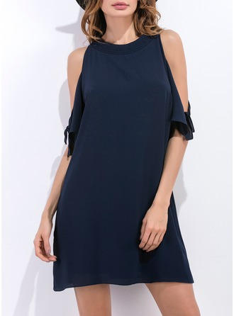 Polyester/Cotton With Hollow Above Knee Dress