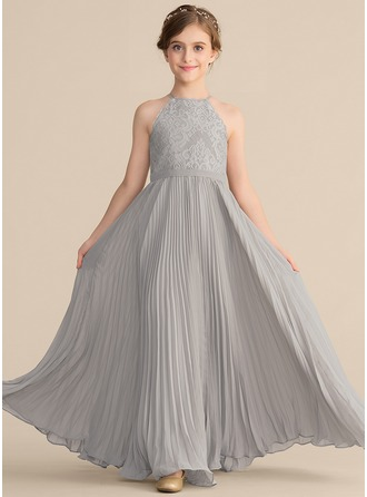 Scoop Neck Floor-Length Chiffon Lace Junior Bridesmaid Dress