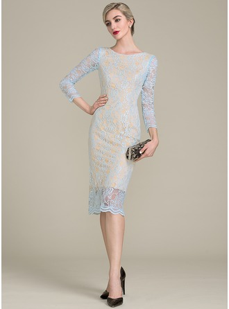 Sheath/Column Scoop Neck Tea-Length Lace Cocktail Dress