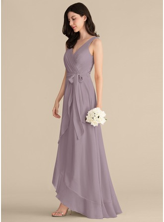V-neck Asymmetrical Chiffon Bridesmaid Dress With Ruffle Bow(s)