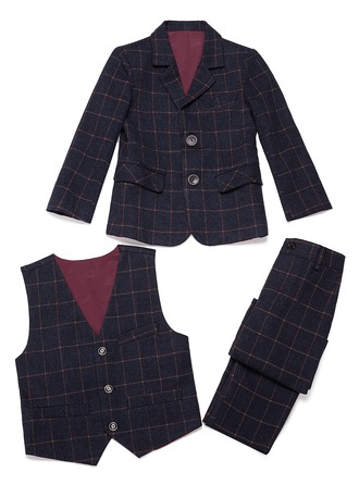 Boys 3 Pieces Plaid Ring Bearer Suits With Jacket Vest Pants