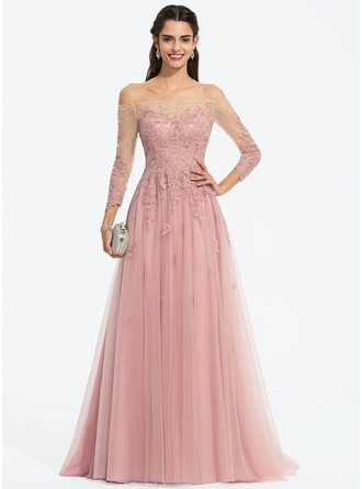Off-the-Shoulder Sweep Train Tulle Prom Dresses With Beading Sequins
