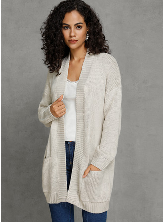 Chunky knit Solid Pocket Polyester Cardigans Sweaters