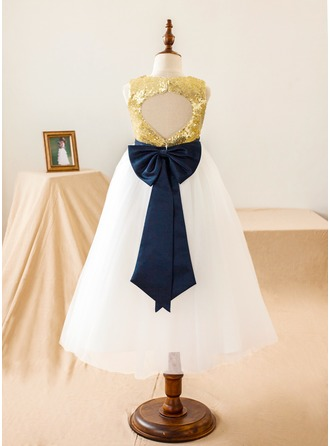 A-Line/Princess Tea-length Flower Girl Dress - Tulle/Sequined Sleeveless Scoop Neck With Sequins/Bow(s)/Back Hole
