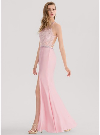 Trumpet/Mermaid Scoop Neck Floor-Length Jersey Prom Dresses With Beading Split Front