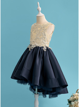 Ball-Gown/Princess Asymmetrical Flower Girl Dress - Satin Sleeveless Scoop Neck With Lace Sequins