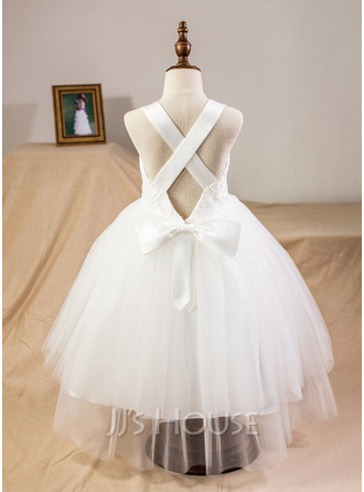 Ball-Gown/Princess Sweetheart Tea-Length Satin Tulle Lace Junior Bridesmaid Dress With Bow(s)