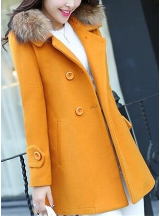 Polyester Long Sleeves Plain Trench Coats ()
