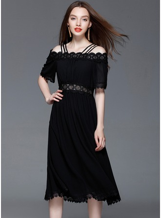 Chiffon With Lace/Stitching/Hollow/Crumple Knee Length Dress
