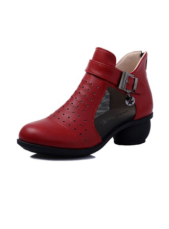 Women's Real Leather Sneakers Dance Boots With Buckle Dance Shoes
