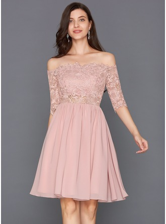 A-Line/Princess Scalloped Neck Off-the-Shoulder Knee-Length Chiffon Cocktail Dress