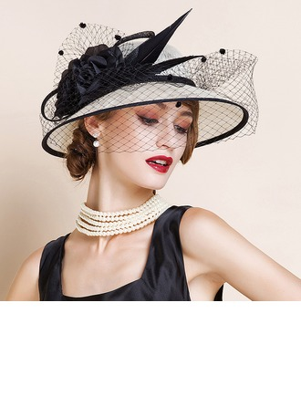 Ladies' Nice/Romantic/Vintage/Artistic Cambric With Tulle Fascinators/Kentucky Derby Hats/Tea Party Hats