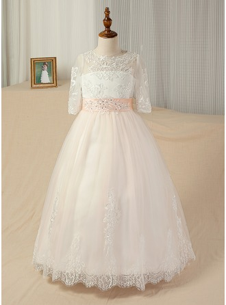 Ball Gown Sweep Train Pageant Dresses - Satin/Tulle/Lace 3/4 Sleeves Scoop Neck With Sash/Appliques