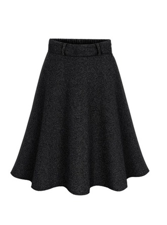 A-Line Skirts Above Knee Plain Wool Skirts