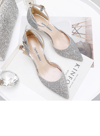 Women's Sparkling Glitter Kitten Heel Closed Toe Pumps With Sparkling Glitter