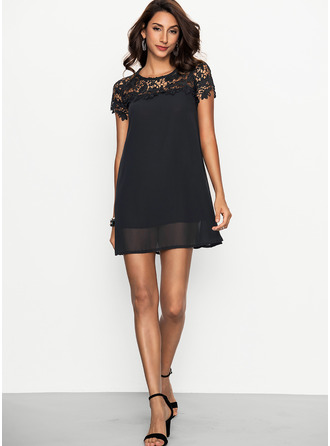 Lace/Chiffon With Lace Above Knee Dress