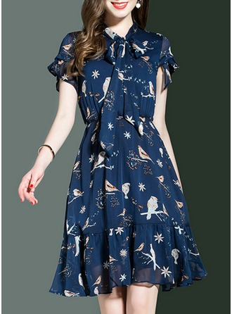 Chiffon With Bowknot/Print/Crumple/Ruffles Above Knee Dress