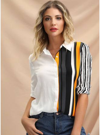Long Sleeves Viscose Lapel Shirt Blouses Blouses