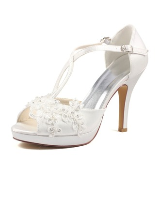Women's Silk Like Satin Stiletto Heel Peep Toe Pumps With Pearl