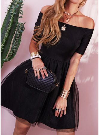 Solid A-line Off the Shoulder 1/2 Sleeves Midi Elegant Little Black Party Vintga Skater Dresses