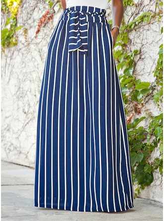 Viscose Striped Maxi Jupes trapèze