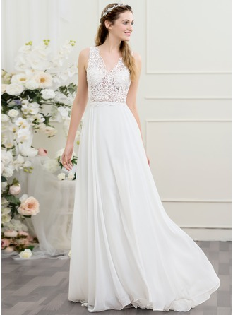 A-Line/Princess V-neck Sweep Train Chiffon Wedding Dress