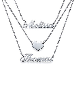 Custom Silver Heart Two Name Necklace With Heart -