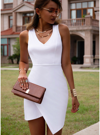 Solid Bodycon V-Neck Sleeveless Midi Casual Dresses