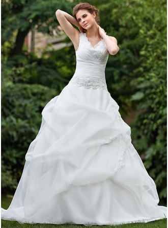 Ball-Gown V-neck Cathedral Train Organza Wedding Dress With Ruffle Lace Beading