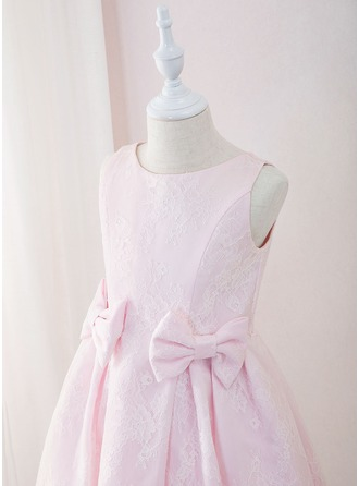 Tea-length Flower Girl Dress - Lace Sleeveless Scoop Neck With Bow(s)