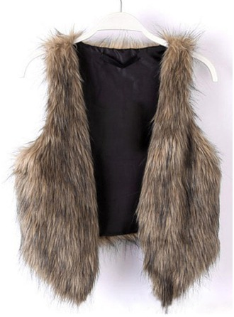 Faux Fur Sleeveless Patchwork Vest Coats