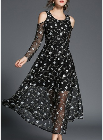 Polyester With Embroidery Maxi Dress
