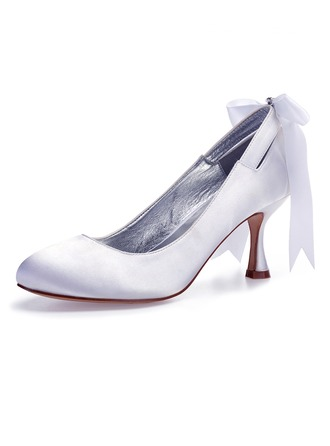 Women's Silk Like Satin Flat Heel Closed Toe Pumps With Bowknot