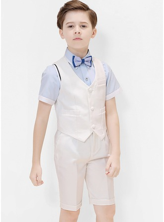 Boys 4 Pieces Classic Ring Bearer Suits /Page Boy Suits With Shirt Vest Bow Tie Shorts