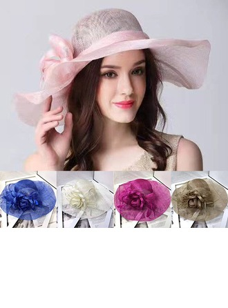 Ladies' Beautiful Cambric With Feather Floppy Hat