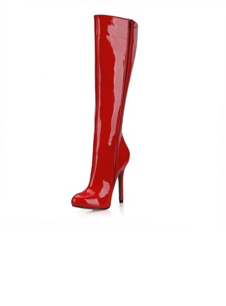 Women's Patent Leather Stiletto Heel Pumps Closed Toe Boots Knee High Boots shoes