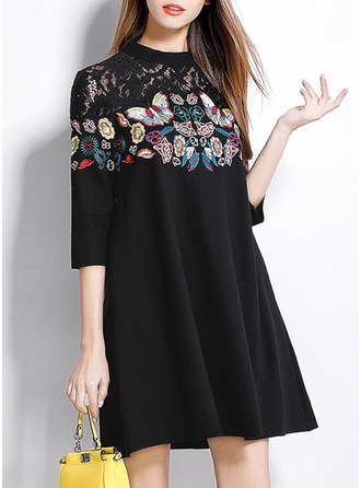 Polyester/Spandex With Stitching Knee Length Dress