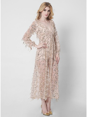 Polyester avec Paillettes/Couture Maxi Robe