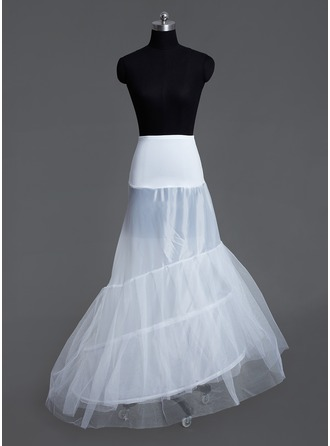 Women Tulle Netting/Lycra Court Train 3 Tiers Petticoats