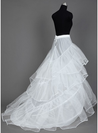 Women Nylon/Tulle Netting Cathedral Train 3 Tiers Petticoats