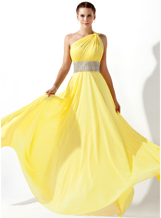 One-Shoulder Floor-Length Chiffon Prom Dresses With Ruffle Beading