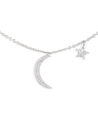 Silver Cubic Zirconia Moon Star Charm Necklace For Girlfriend For Girl