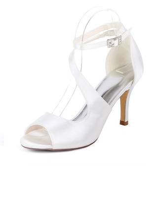 Women's Silk Like Satin Stiletto Heel Pumps Sandals