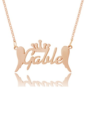 Custom 18k Rose Gold Plated Silver Name Necklace With Crown Angeles